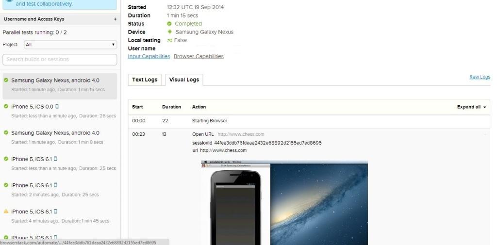 BrowserStack Result Visual Log