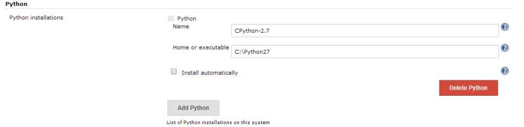Configure Python installation