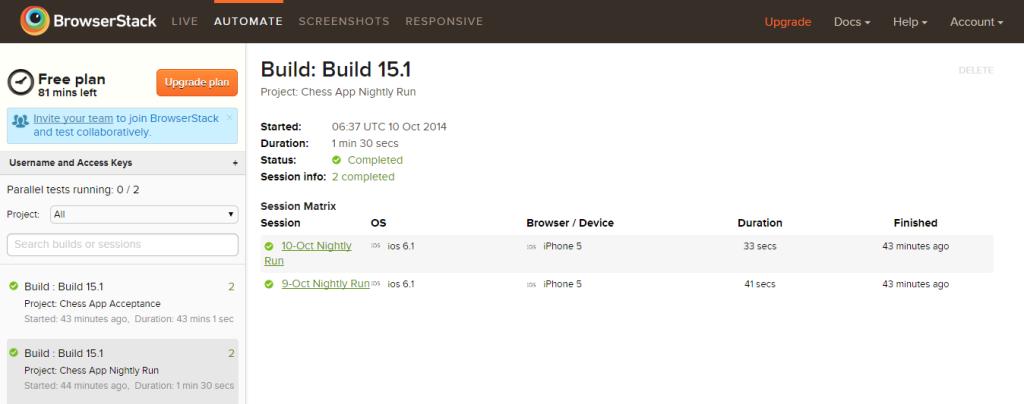 BrowserStack Result