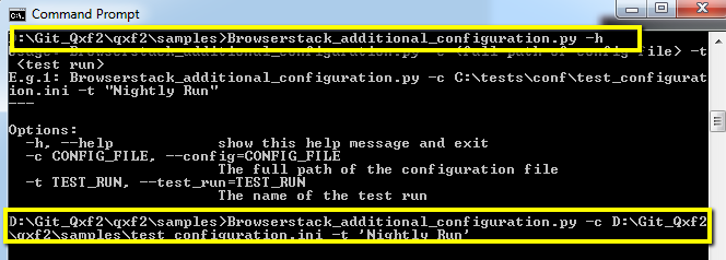 Run BrowserStack Test using command prompt