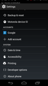 Developer Option in Android settings