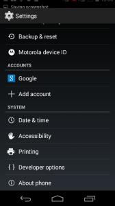 Developer Option in Android settings