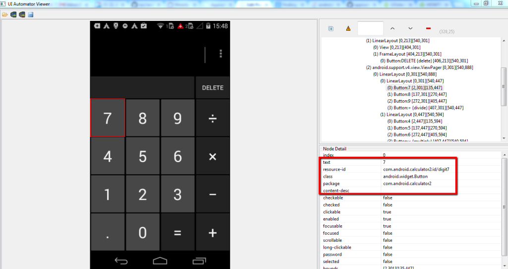 Screenshot of calculator app using uiautomatorviewer