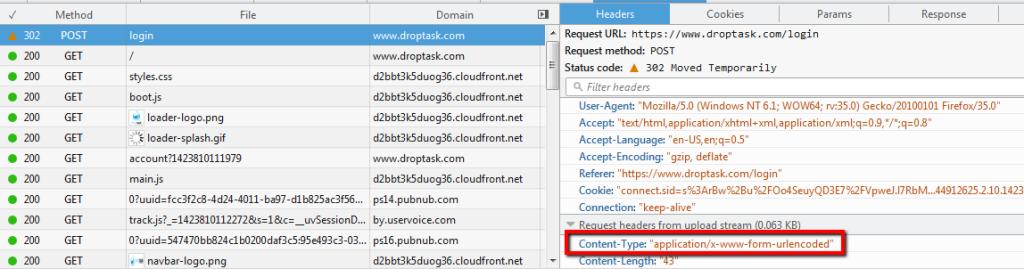 content-type login request